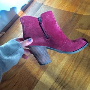 American Eagle red suede double zip booties